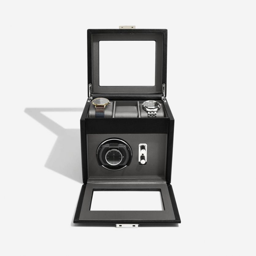 Dulwich Designs Leather Single Watch Winder with Grey Lining