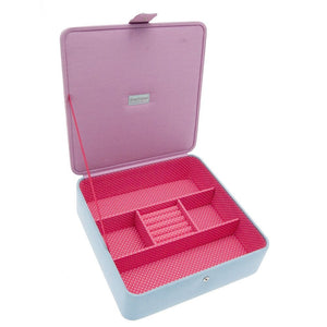 Large Blue Polka Dot & Stripe Jewellery Box