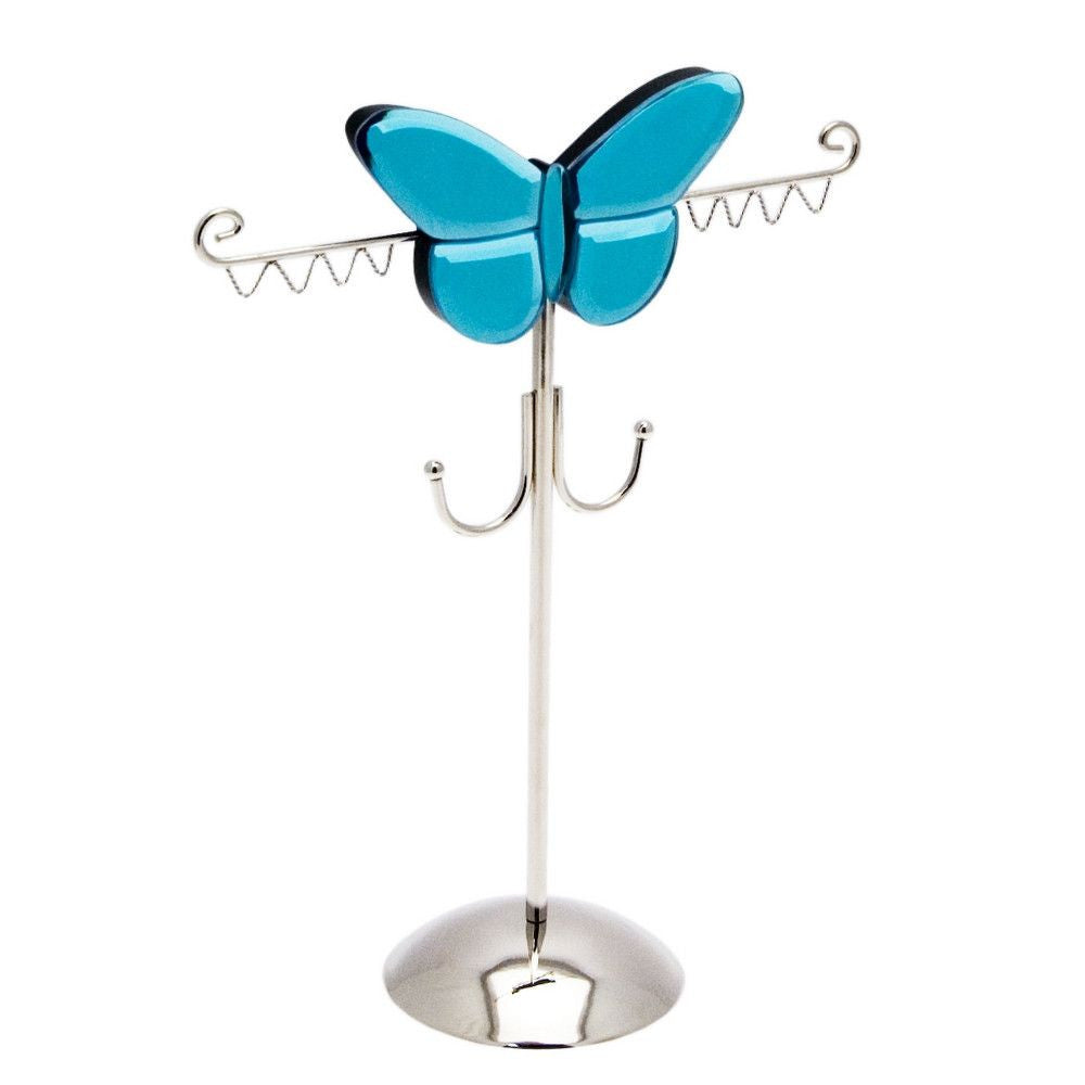 Metal & Smoked Glass Butterfly Jewellery Hanger