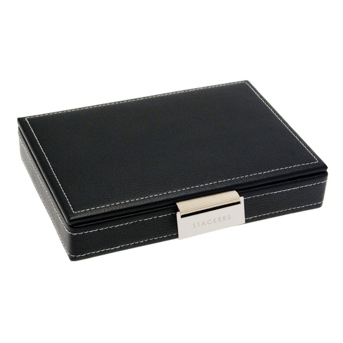 Stackers Black Stripe Stacker Gents Jewellery Valet Tray -Lid