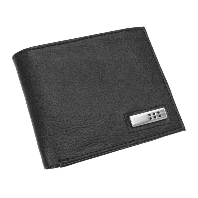 Dulwich Designs Black Leather Wallet with Striped Lining