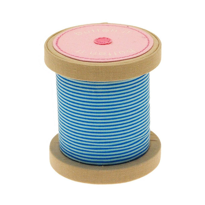 Button It Turquoise Stripe Bobbin Novelty Pin Cushion