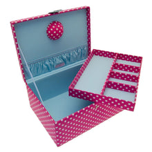 Button It Large Pink & White Polka Dot Sewing Box