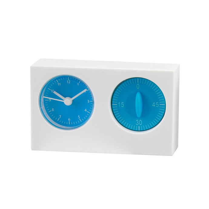 Giftery White/Blue Kitchen Timer And Clock