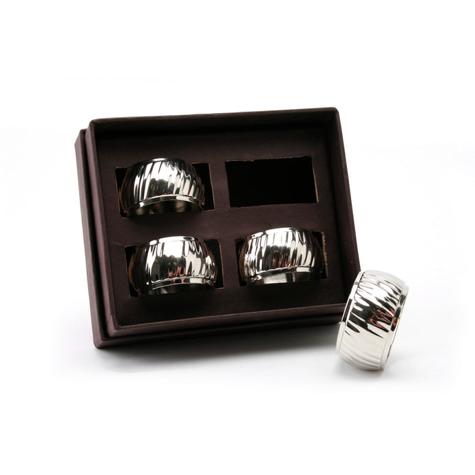 Giftery Silver Fluted Napkin Rings