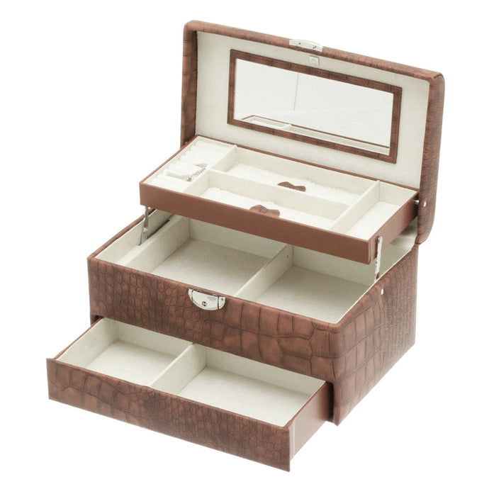 Brown Caiman Cantilever Jewellery Box