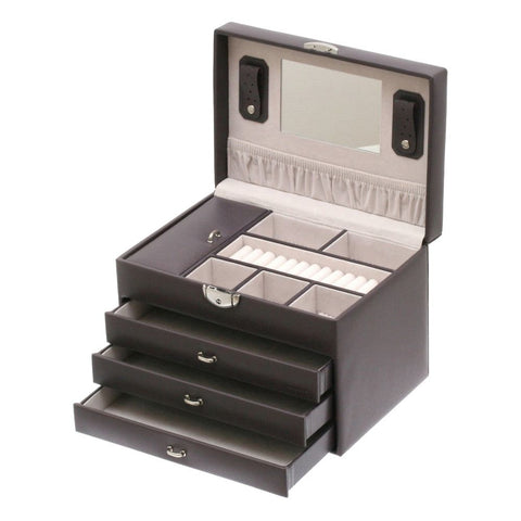 Davidts Dark Grey Euclide 3 Drawer Large Jewellery Box