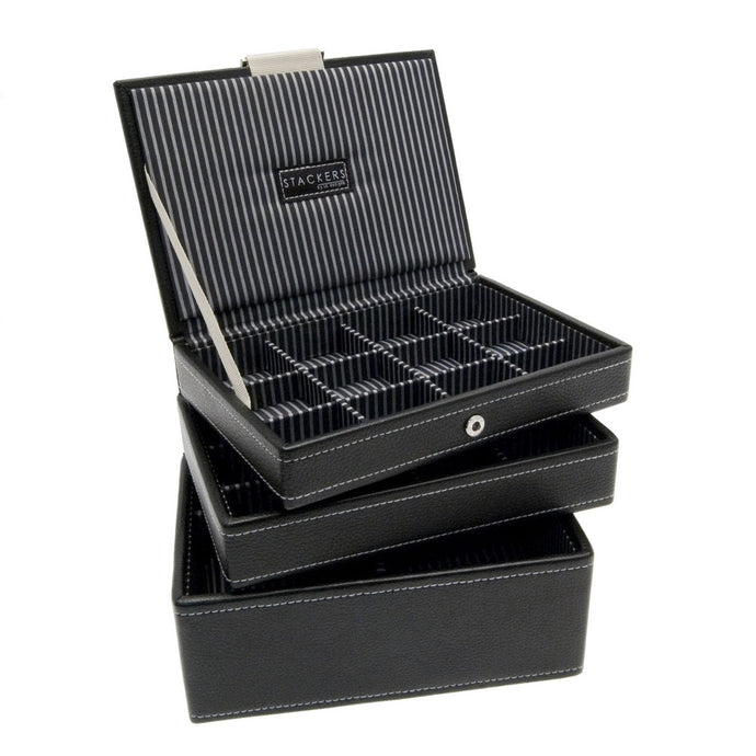 Stackers Set of 3 Black Gents Mini Stacker Jewellery Trays