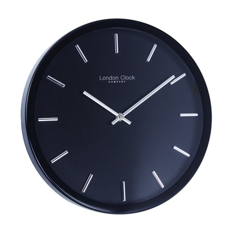 London Clock Co 31cm Black Contemporary Wall Clock