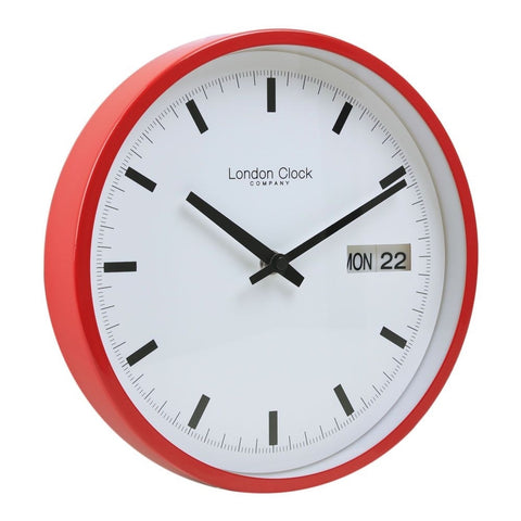 London Clock Co 25 cm Red Day Date Wall Clock