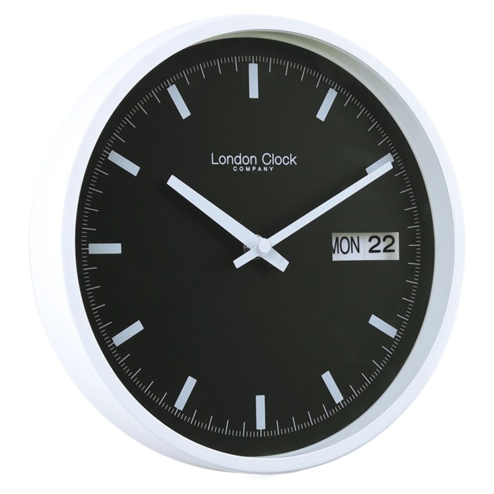 London Clock Co 25 cm White Black Day Date Wall Clock