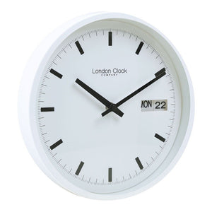 London Clock Co 25 cm White Day Date Wall Clock