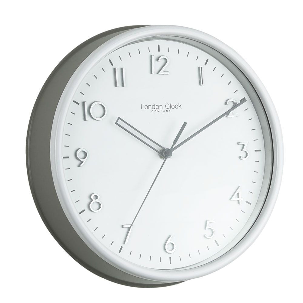 London Clock Co 25 cm Grey Kitchen Clock