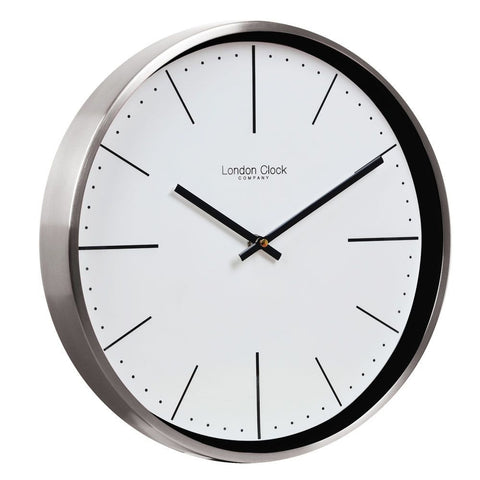 London Clock Co 3 cm Brushed Chrome Case Wall Clock