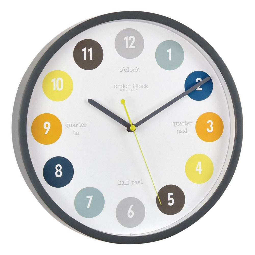 London Clock Co 3 cm Kids Tell The Time Wall Clock Grey