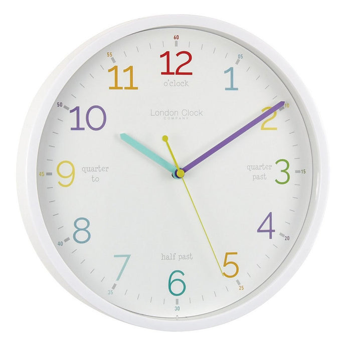 London Clock Co 3 cm Kids Tell The Time Wall Clock White