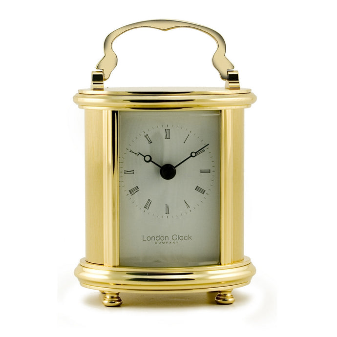 London Clock Co Gold Finish Brass Carriage/Mantle Clock