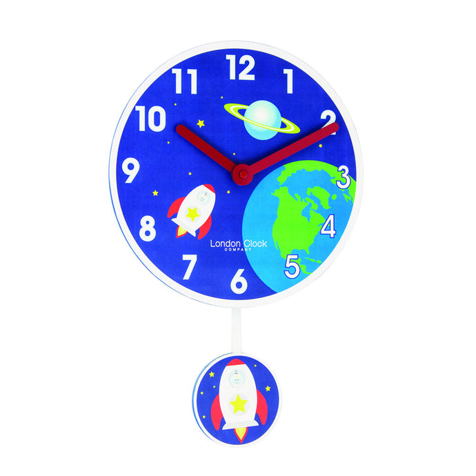 London Clock Co 4cm Blue Rocket Pendulum Children's Wall Clock