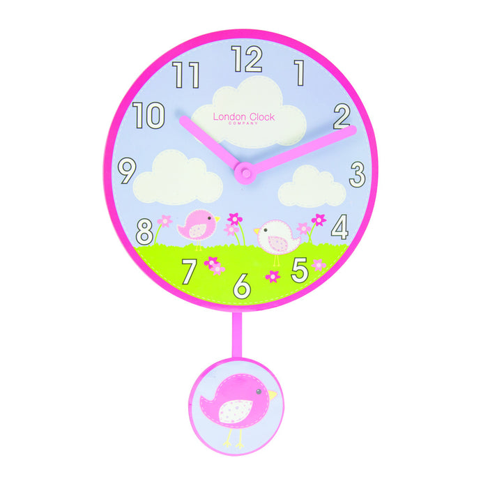 London Clock Co 4cm Pink Birds Pendulum Children's Wall Clock