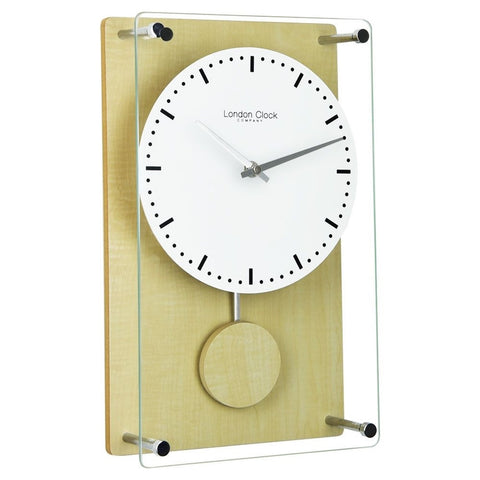 London Clock Co 35 cm Light Wood Effect Pendulum Wall Clock