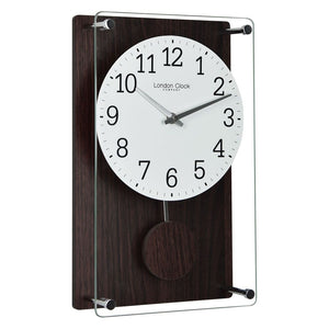 London Clock Co 35 cm Dark Wood Effect Pendulum Wall Clock