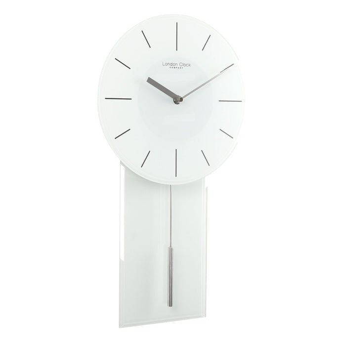 London Clock Co 48cm White Glass Modern Wall Clock