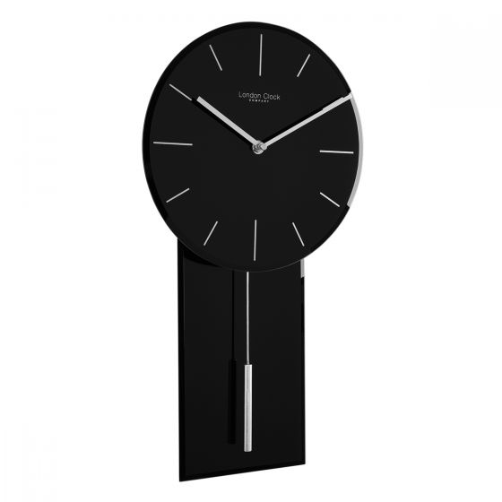 London Clock Co 48cm Black Glass Modern Wall Clock