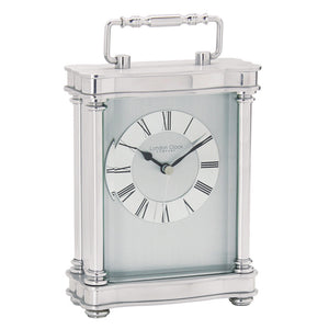 London Clock Co Silver Finish Carriage Clock with Handle