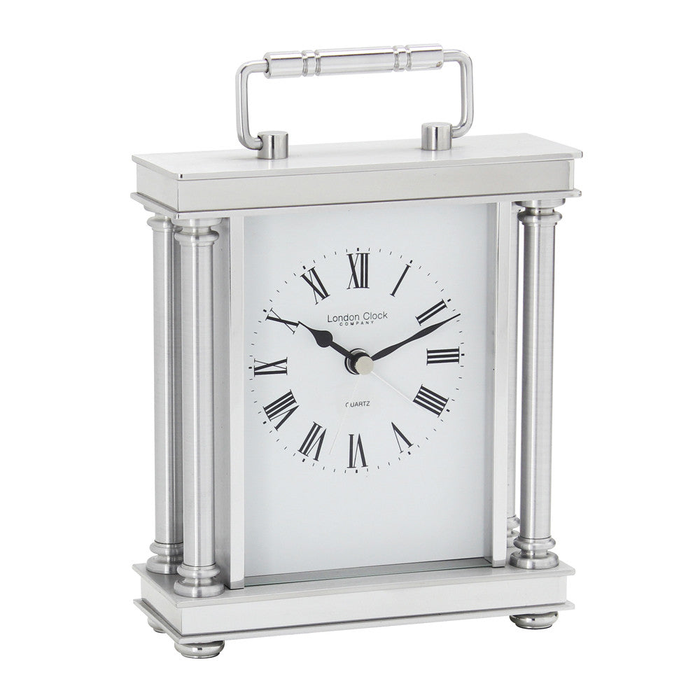 London Clock Co 19cm Silver Finish Carriage Clock with Alarm