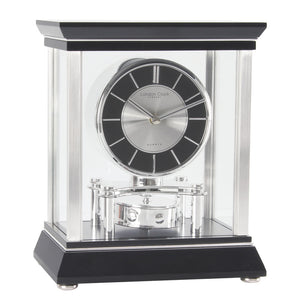 London Clock Co Black & Chrome Mantle Clock with Rotating Pendulum