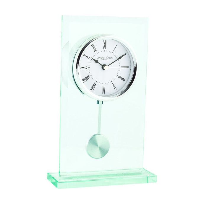 London Clock Co 22cm Glass Flat Top Pendulum Mantel Clock