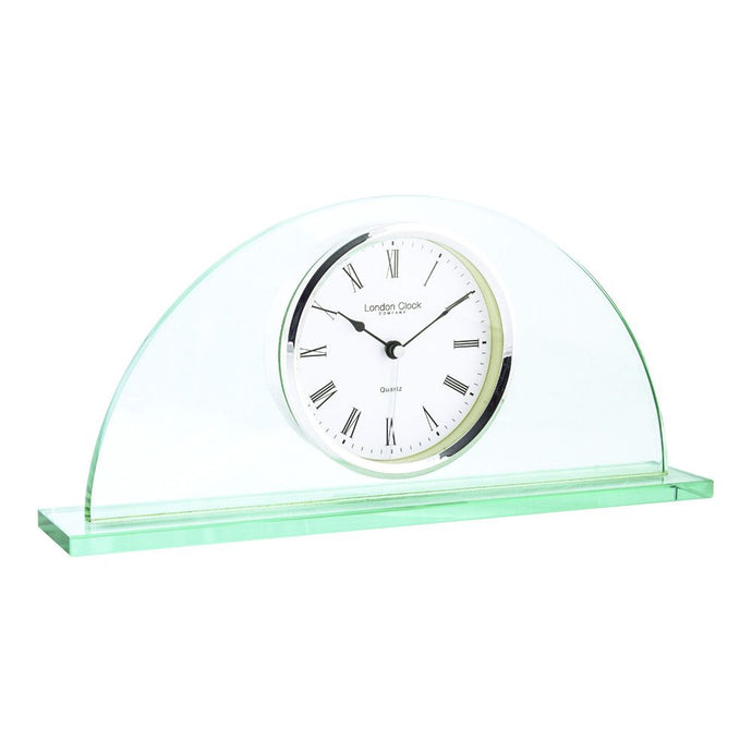 London Clock Co 16cm Glass Half Moon Mantel Clock