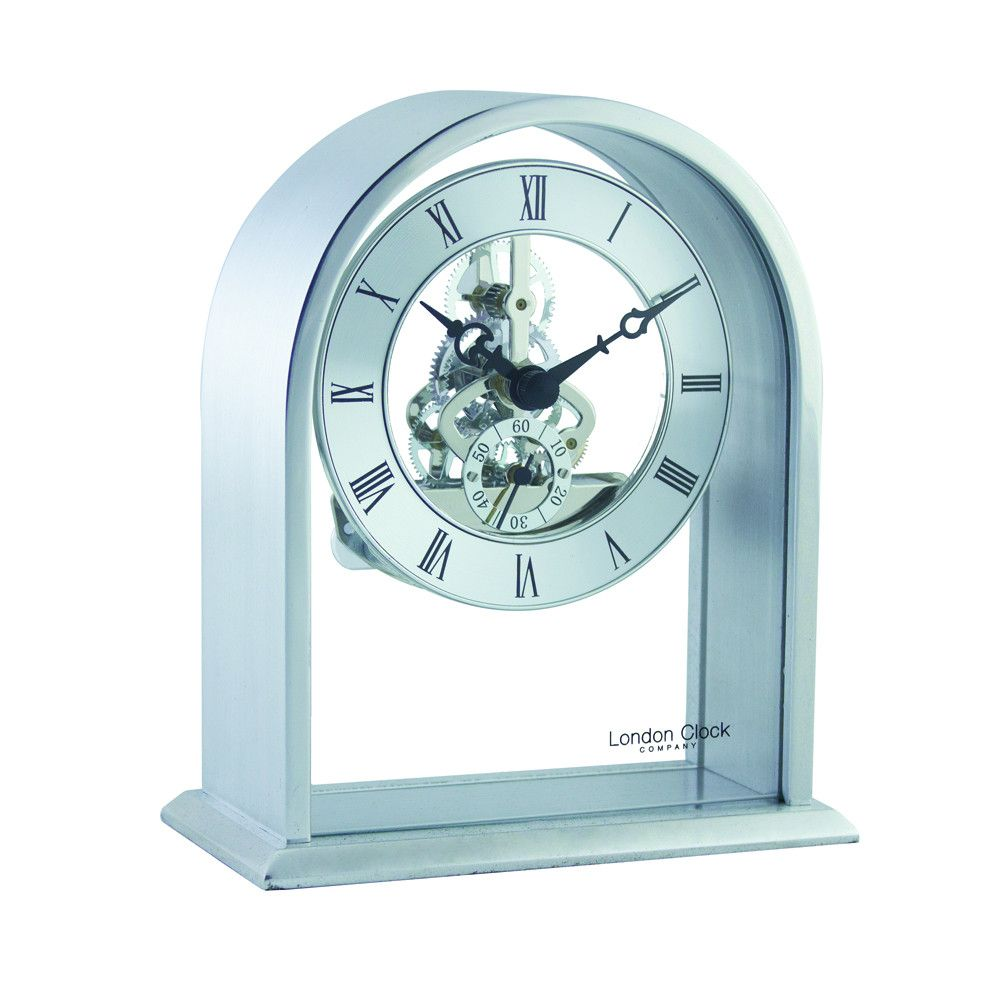 London Clock Co 14cm Silver Arch Top Skeleton Mantel Clock