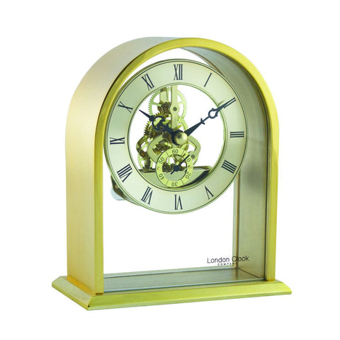London Clock Co 14cm Gold Arch Top Skeleton Mantel Clock