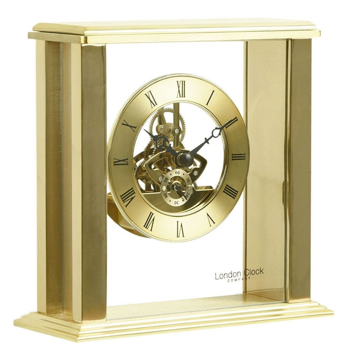 London Clock Co 16 cm Gold Simple Frame Skeleton Mantel Clock