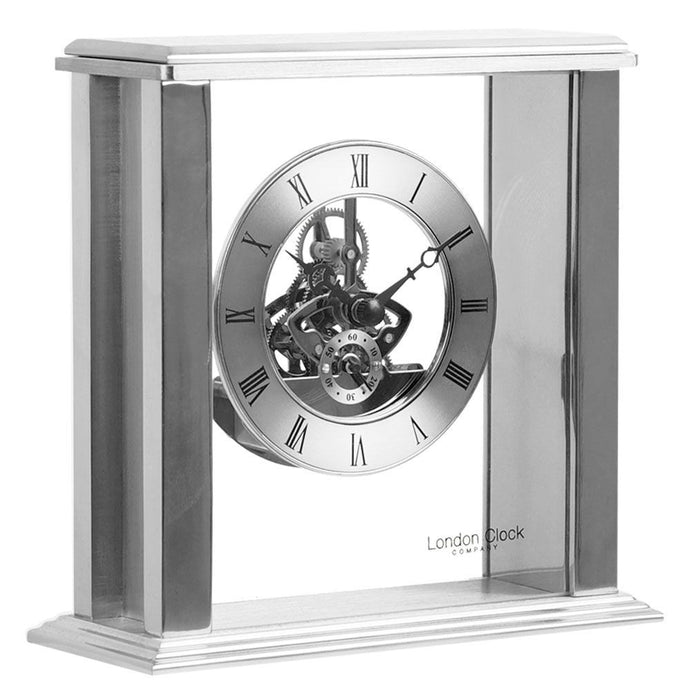 London Clock Co 16 cm Silver Simple Frame Skeleton Mantel Clock