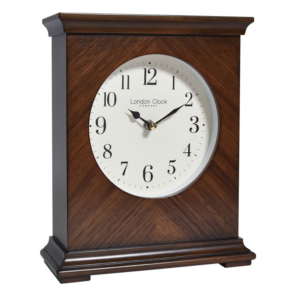 London Clock Co 25 cm Flat Top Wooden Mantel Clock