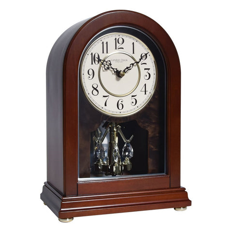 London Clock Co 28 cm Arch Top Wooden Mantel Clock With Rotating Pendulum