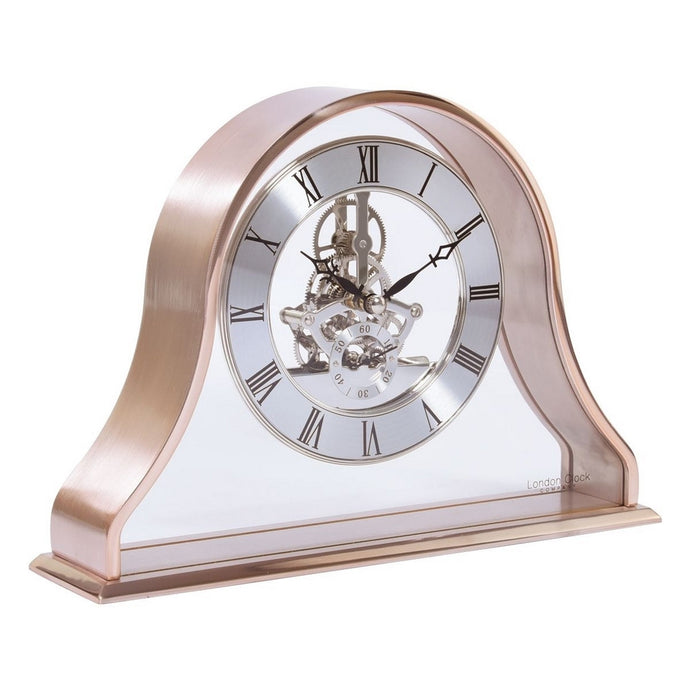 London Clock Co 18 cm Napoleon Rose Gold Skeleton Mantel Clock