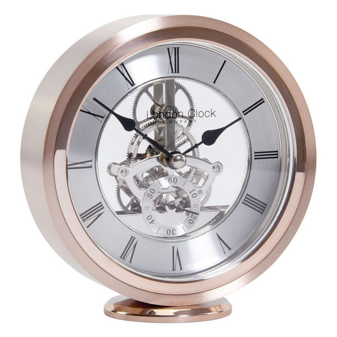 London Clock Co 14 cm Round Rose Gold Skeleton Mantel Clock