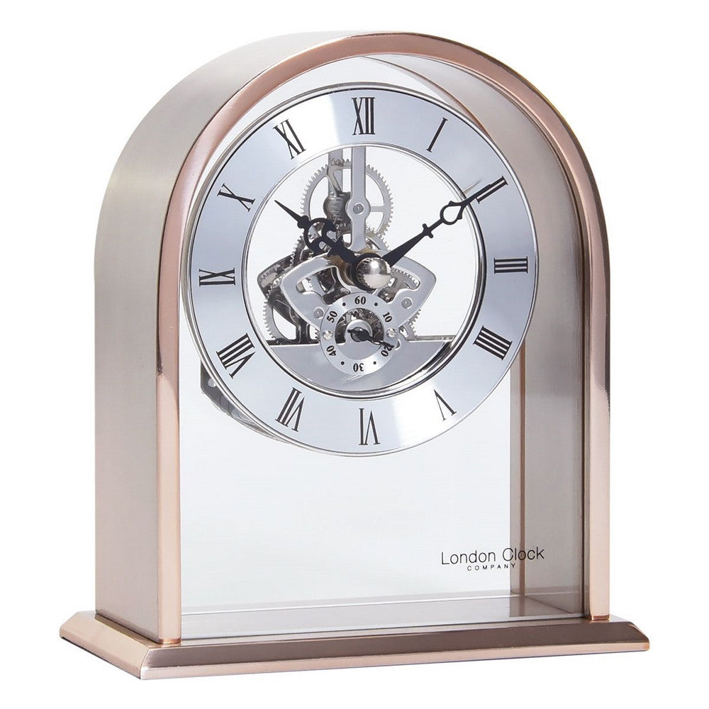 London Clock Co 14 cm Arch Top Rose Gold Skeleton Mantel Clock
