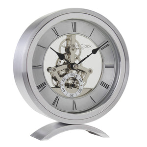 London Clock Co 16cm Silver Round Skeleton Mantel Clock