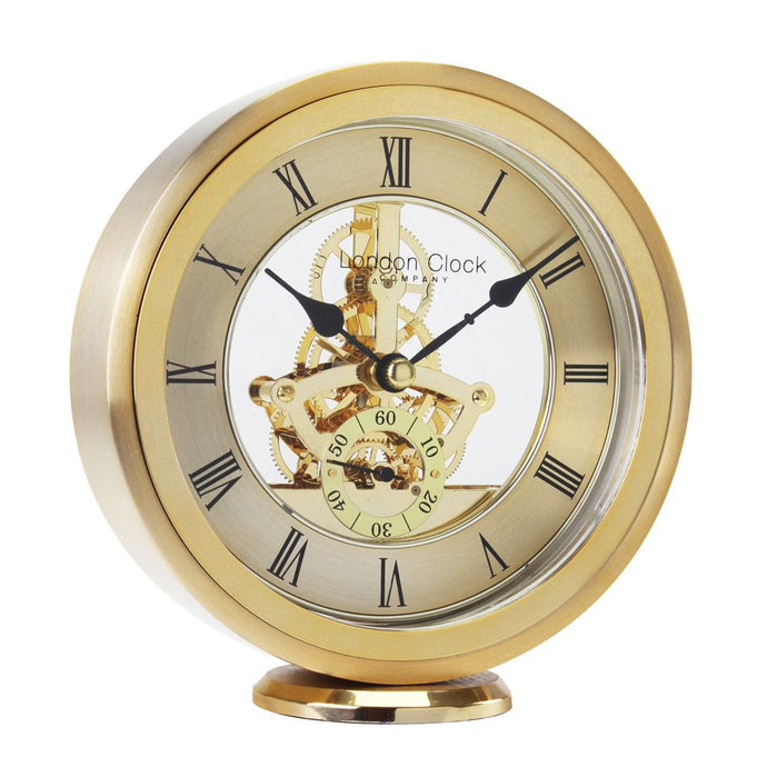 London Clock Co 15cm Gold Round Skeleton Mantel Clock
