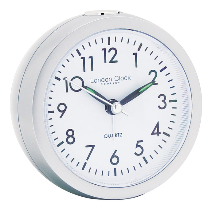 London Clock Co 8cm Silver Round Alarm Clock