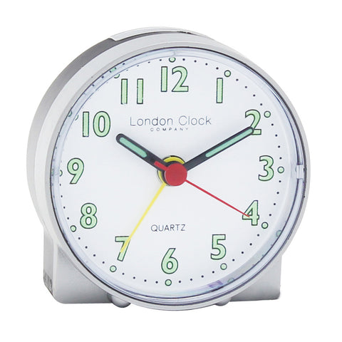 London Clock Co 7cm Silver Mini Travel Alarm Clock