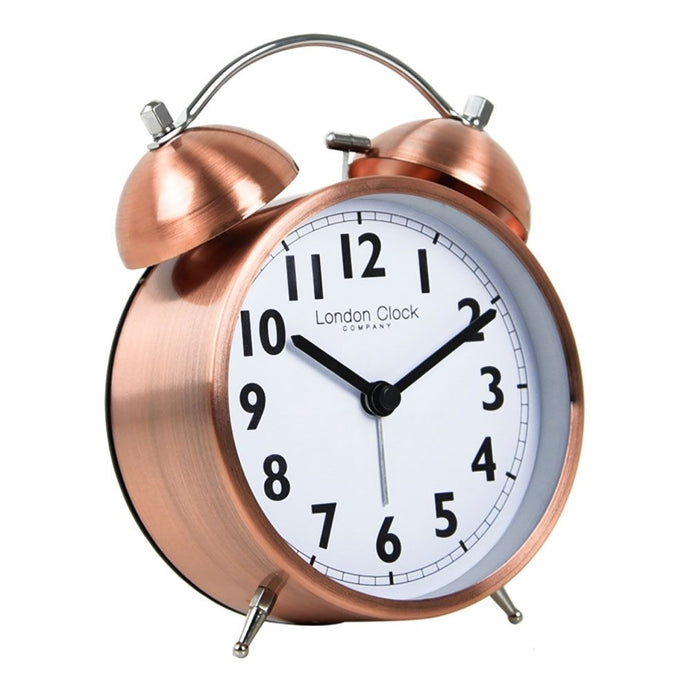 London Clock Co 15 cm Copper Finish Twin Bell Alarm