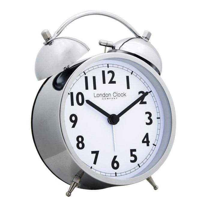 London Clock Co 15 cm Chrome Finish Twin Bell Alarm