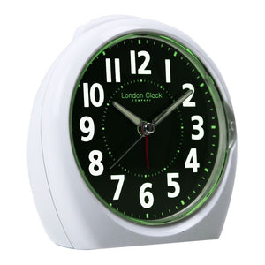 London Clock Co 13 cm Medium White Luminous Display Analogue Alarm
