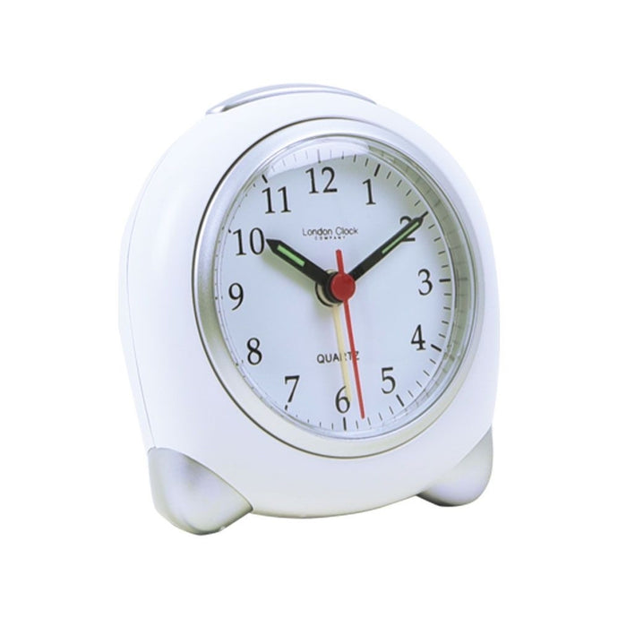 London Clock Co 9 cm Small White/Silver Analogue Alarm