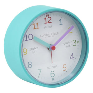 London Clock Co 9 cm Kids Tell The Time Alarm Clock Teal